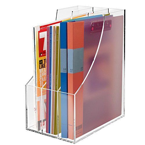 3 Slots Clear Acrylic Desktop Literature Organizer  Magazine  Document File Folder Storage Display Rack *** You can get additional details at the image link.
