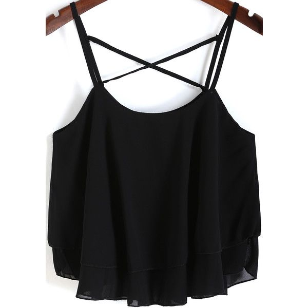 SheIn(sheinside) Black Spaghetti Strap Loose Chiffon Cami Top (£5.92) ❤ liked on Polyvore featuring tops, shirts, tank tops, blusas, crop tops, black, black tank, crop tank top, chiffon shirt and black crop tank