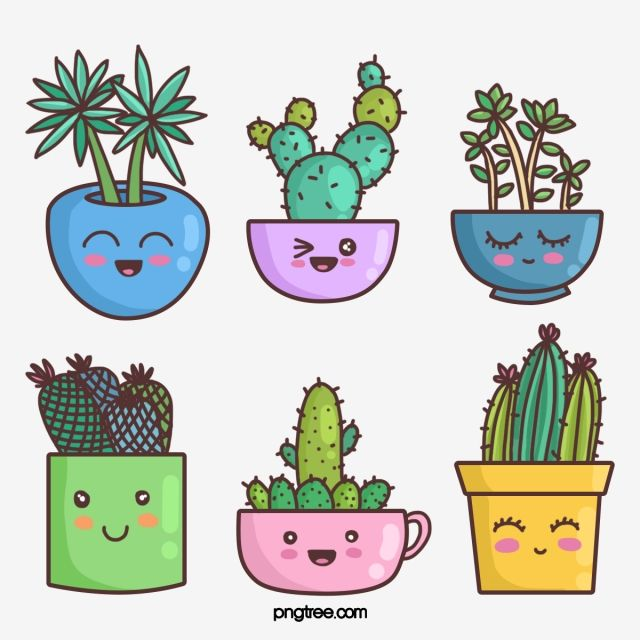Cartoon Linear Style Anthropomorphic Cute Prickly Pear Plant Element, Home Green Plant, Simple Plant, Indoor Green Plant PNG Transparent Clipart Image and PSD File for Free Download