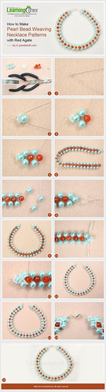 How to Make Pearl Bead Weaving Necklace Patterns with Red Agate
