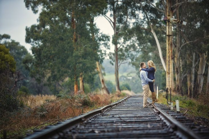 Engagement Portraits train lines Photo By Mike Semple Photography www.weddings.mikesemple.com.au