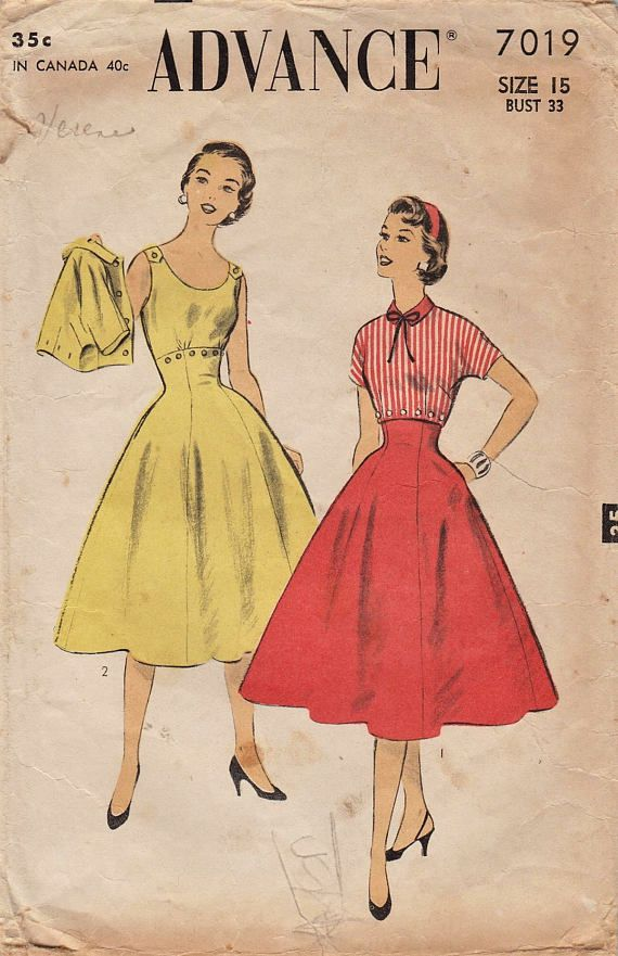 Hey, I found this really awesome Etsy listing at https://www.etsy.com/listing/511049604/advance-7019-vintage-50s-sewing-pattern