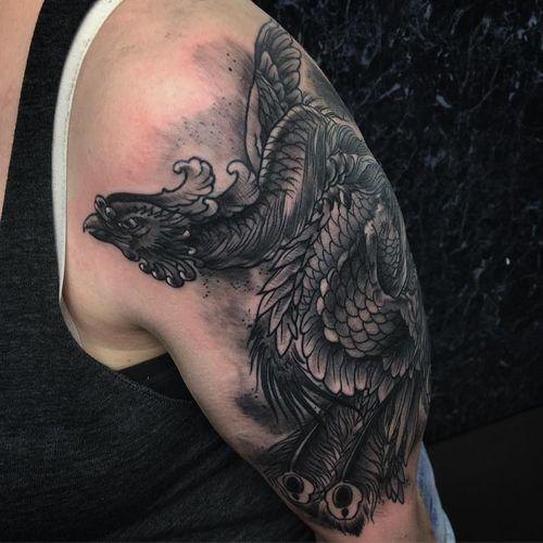 great grey phoenix religious tattoo