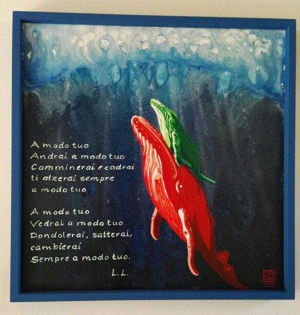 """Daniele"" Acrilico su pannello #acrylic #whale #calf #art #paint"