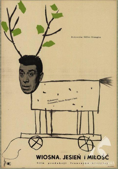 LE PRINTEMPS, L'AUTOMNE ET L'AMOUR, dir.  Gilles Grangier (1955). Polish poster: Wojciech Fangor (GAPLA) #polishposter, #filmposter, #fangor, #gapla