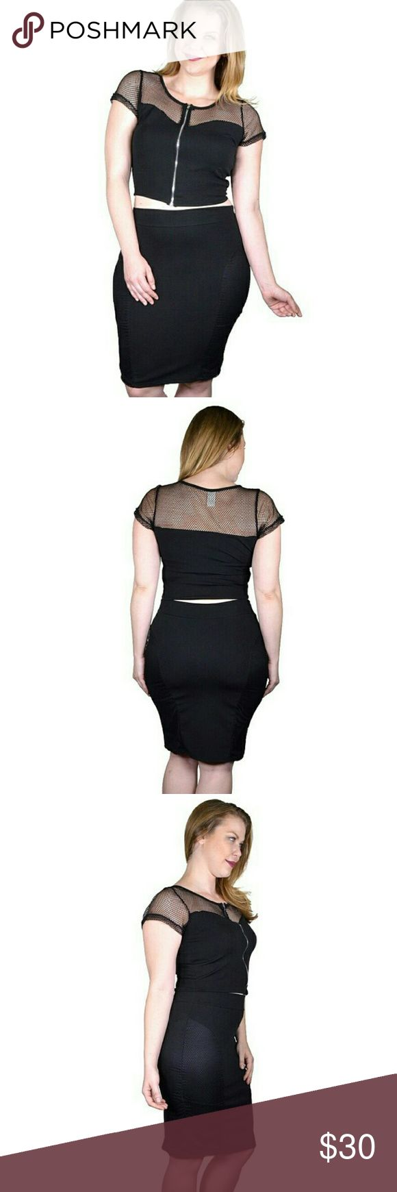 Plus Size Crop Top and Pencil Fitted Skirt? Made In U.S.A 1XL.2XL.3XL 96% Polyester 4% Spandex Black? Tops Crop Tops