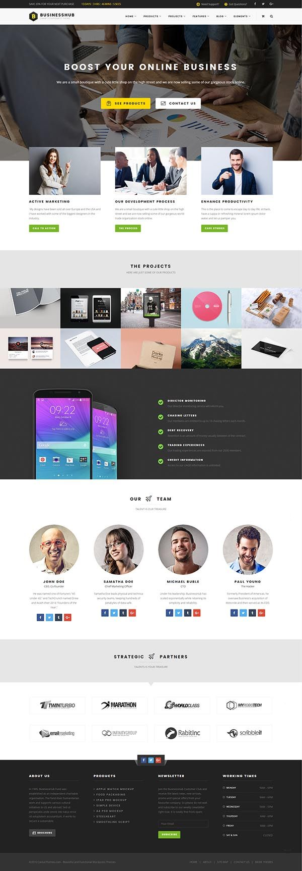 Business Hub : Responsive WordPress Theme For Online Business