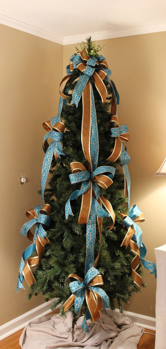 Blue / Brown Designer Christmas Tree Bow Set