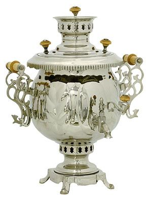 """Угольный самовар (4,5л), форма """"Шар""""-The best fuel for the samovar is charcoal, dry lumps and chips, pine cones. However, it must be remembered that in the dry pine cones a lot of pitches that can get in the water. In no case be used as fuel kerosene."""