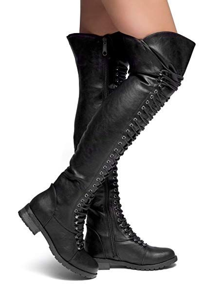 3b8ff30e550f Herstyle Kristrrina Women Military Lace Up Thigh High Combat Bootss Black 7