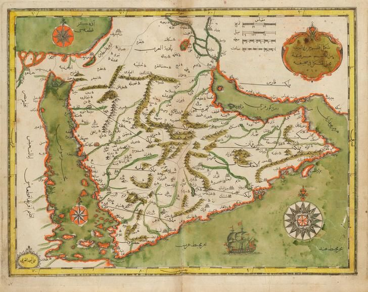 Ottoman Map Of The Arabian Peninsula 1732 2317 1837 Map Vintage Maps Old Maps