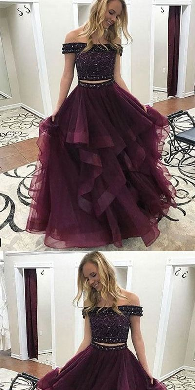 7eae48da4057 Off Shoulder Beaded Top Two Pieces Burgundy Long Prom Dress