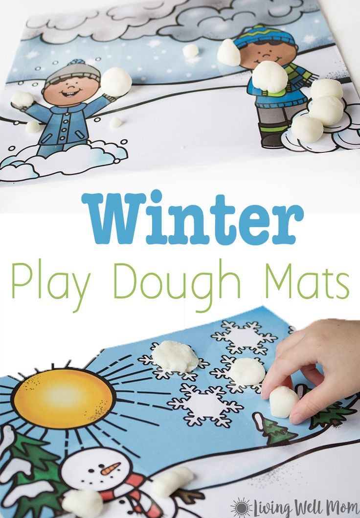 Winter Scene Playdough Mats {Free Printables