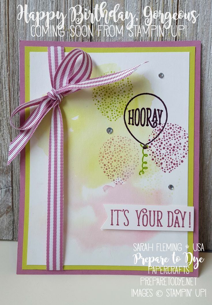 Stampin' Up! Happy Birthday Gorgeous with Lemon-Lime Twist and Sweet Sugarplum watercolor wash - available in demonstrator preorder - Sarah Fleming - Prepare to Dye Papercrafts