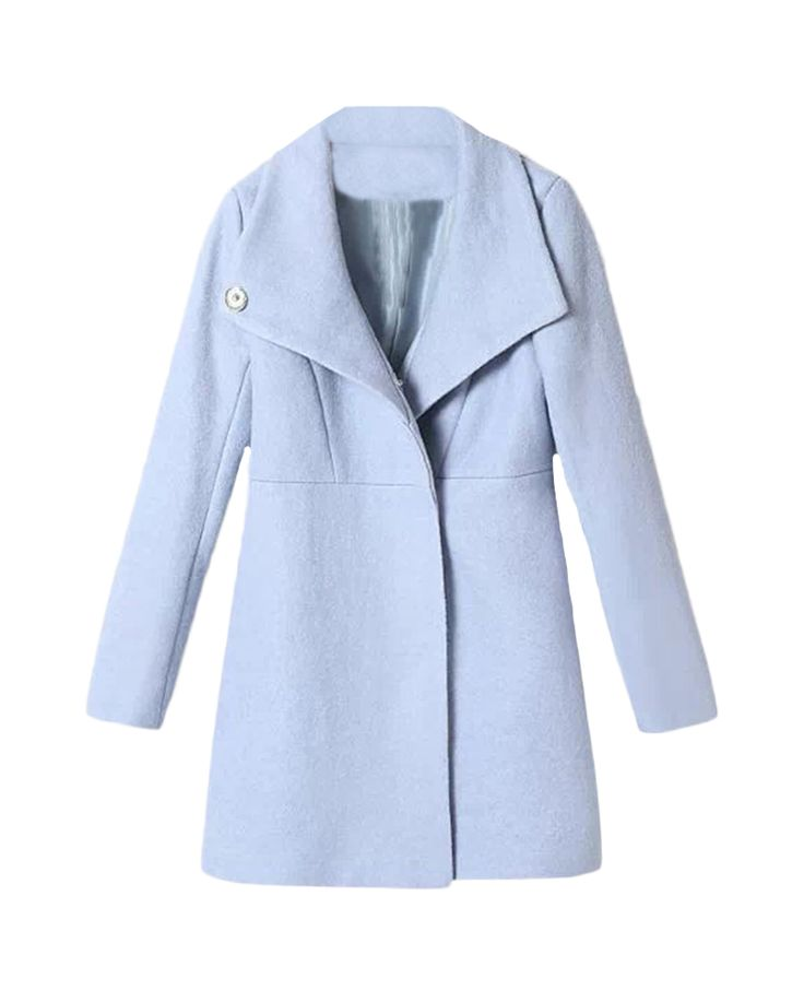 Oversized-collar Md-long Slim Woolen Coat | BlackFive