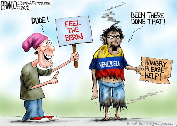 political cartoon featuring a hipster bernie sanders supporter with a sign that says feel the bern while the president of venezuela in tatered clothes with a sign that says hungry please help