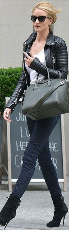 Rosie Huntington-Whiteley looks a stunner.  Rosie Huntington-Whiteley is a super model, she wore black jeans, white T-shirt and black leather Burberry Brit jacket and looked a stunner. She's one of the most famous models   in the world. And Rosie Huntington-Whiteley proved on Wednesday that she can turn any situation into a potential posing situation, as she made a stunning appearance in New   York. Check out at: http://www.womenfitness.net/news/other/rosieHuntington_whiteleyStunner.htm