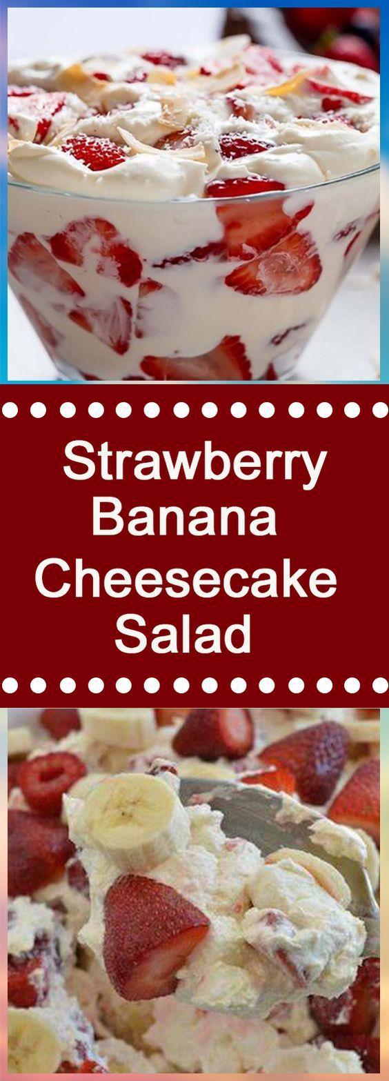 Strawberry-Banana Cheesecake Salad #recipe #easyrecipes #dessert #dessertrecipes #desserttable #appetizer