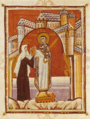 Miniature From The Gospel Book Of Abbess Hilda Early 11th Century Dermstadt