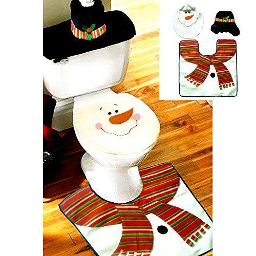 Jastore ®schwarz Schneemann dekoration Weihnachtsdeko WC Toillete Set Sitzbezug & Teppich & Gewebe Deckel Geschenk
