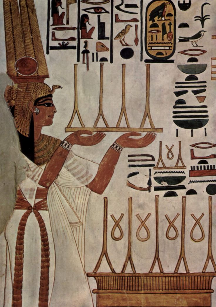 Fresco From The Tomb of Nefertari  --  Circa 1250 BCE  --  Chief wife of Ramesses The Great  --  Excavated from Queen's Valley Tomb 66.
