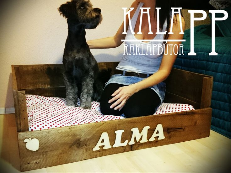 pallet dog bed in rosewood color / kutyaágy raklapból paliszander színben