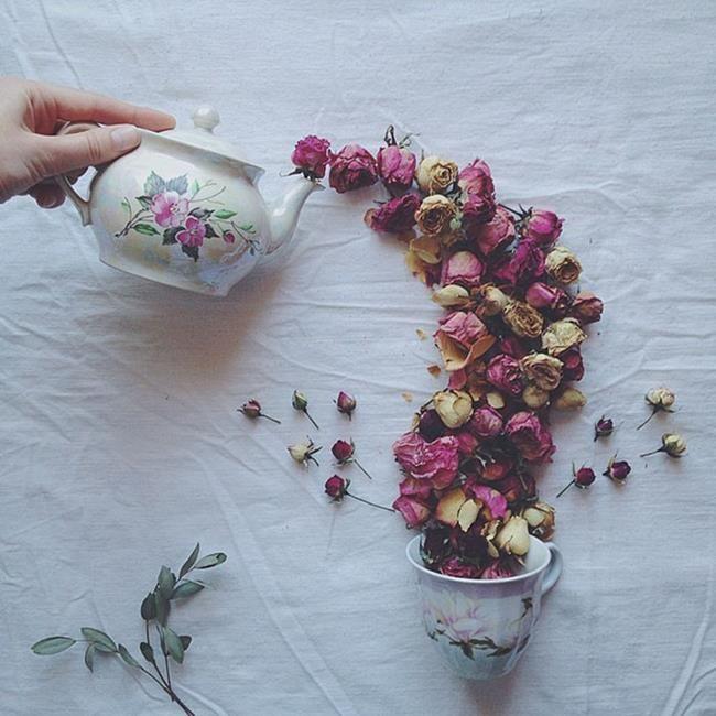 Rus Sanatçı Marina Malinovaya'dan Fincan ve Çiçeklerle Yapılmış 20 Muazzam Çalışma Sanatlı Bi Blog 6