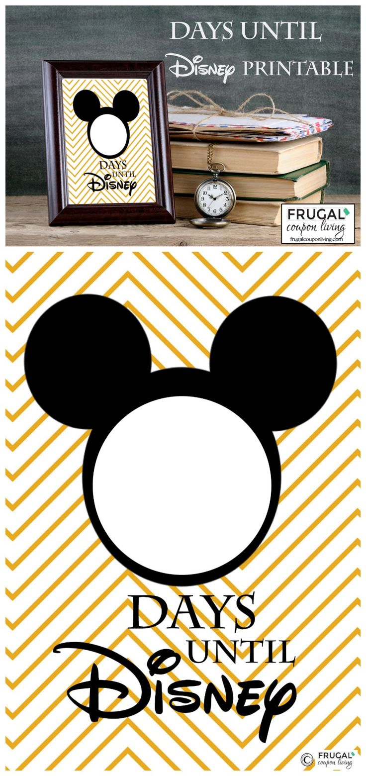Free Countdown to Disney Printable - countdown the days until Disney World, Disneyland, or a Disney Cruise. Frame and daily change the number!