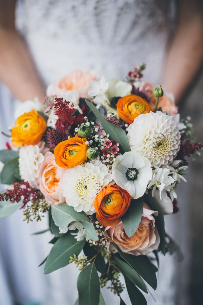 Dahlia, Ranunculus & Anemone Autumnal Bouquet | Buckinghamshire Railway Centre Ceremony | Village Hall Reception | Vintage Decor | DIY Wedding | Rue De Seine Wedding Dress | Matthew Horan Photography | http://www.rockmywedding.co.uk/holly-george/