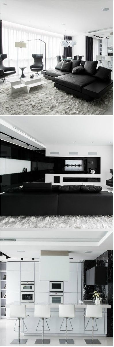 Stunning Black and White Apartment in Moscow If you think black and white is boring, this apartment interior will change your mind!     While most of us are worrying about the colors we would use in our home's interior, others stick to what is safe. Black and white colors are a safe c...