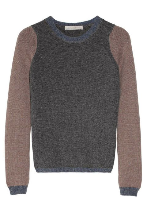 Check out the price of this jumper that looks remarkably like the one yoy wore today!!!... Especially if you live in colder climates, investing in a good cashmere sweater is a must. In muted gray and tan, this color-block pullover is a refreshing alternative to a basic solid. Vanessa Bruno Color-Block Cashmere Sweater, $625; net-a-porter.com