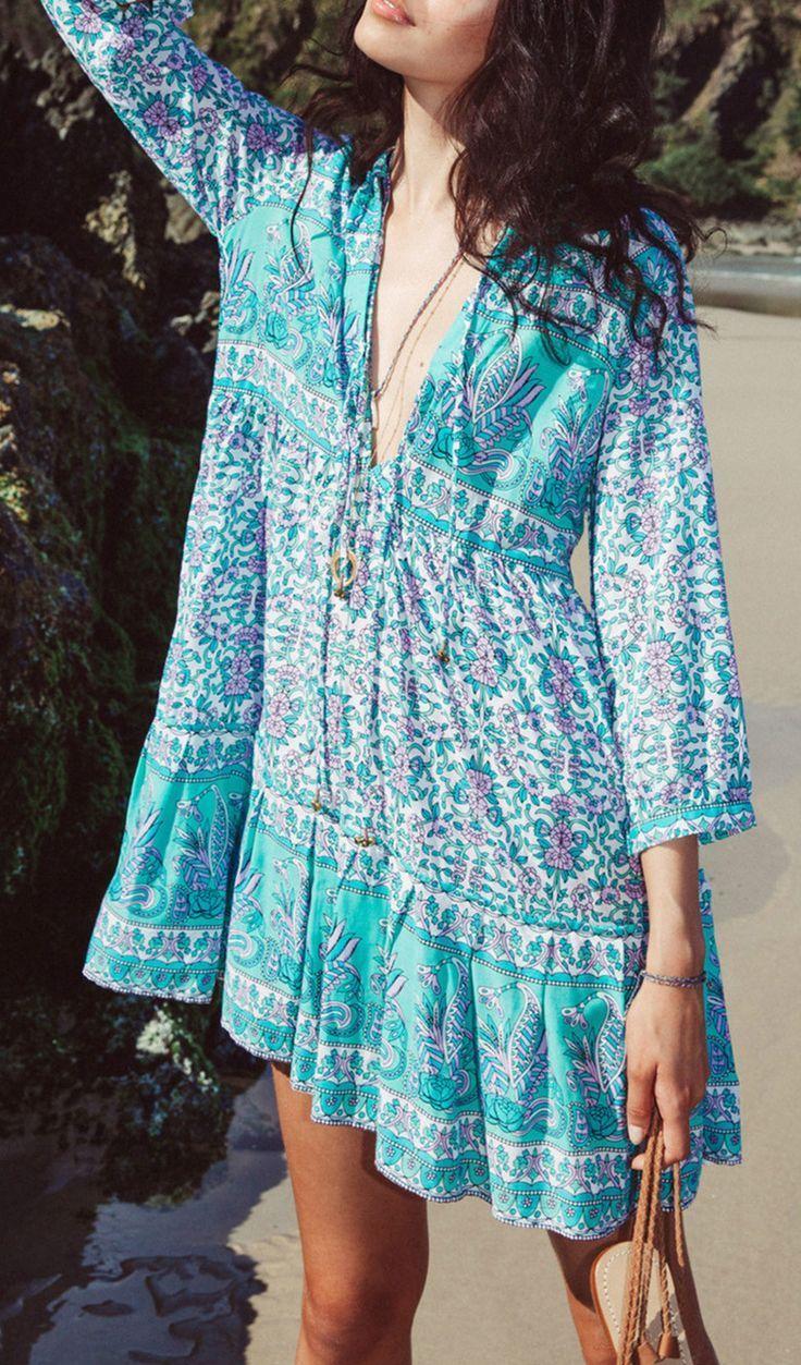Bohemian Deep V Neck 3 4 Sleeve Beach Dress Light Blue Summer Dress Boho Dress Blue Summer Dresses [ 1253 x 736 Pixel ]