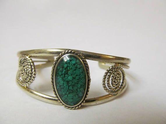 Alpaca Cuff Bracelet  Beautiful Ornate Mexican Silver Crushed