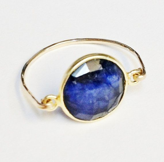 Blue Sapphire Ring   Blue Ring   14K Gold by SpiralsandSpice, $48.00