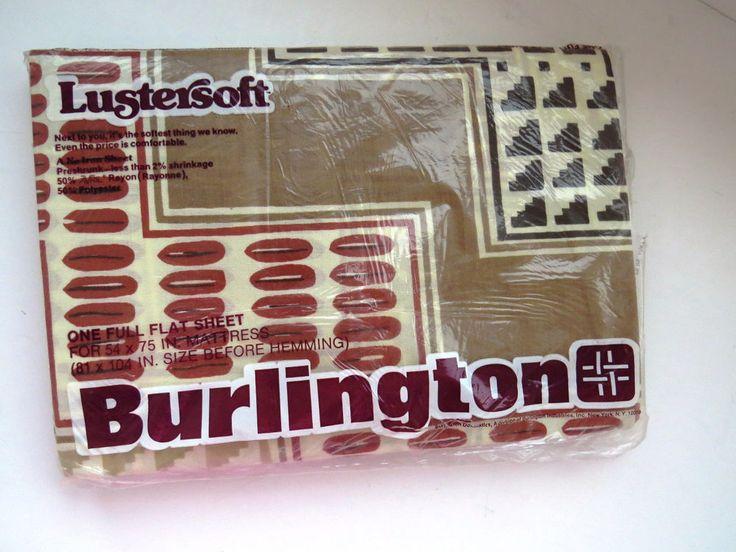 FULL Flat Sheet by Burlington Southwestern Pattern NAJAVO Double Bed NOS Retired