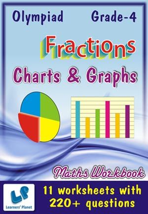 GRADE-4-OLYMPIAD-MATH-CHART-GRAPH,FRACTIONS-WORKBOOK This workbook contains printable worksheets on Charts & Graphs and Fractions for Grade 4 students.  There are total 11 worksheets with 220+ questions.  Pattern of questions : Multiple Choice Questions…    PRICE :- RS.149.00