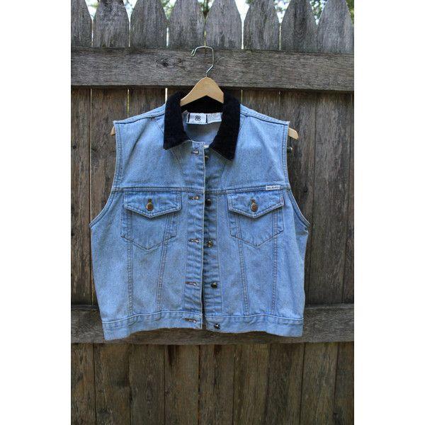 Bill Blass Velvet Collar Denim Vest (470 ARS) ❤ liked on Polyvore featuring outerwear, vests, blue denim vest, bill blass, denim vests, vest waistcoat and denim waistcoat