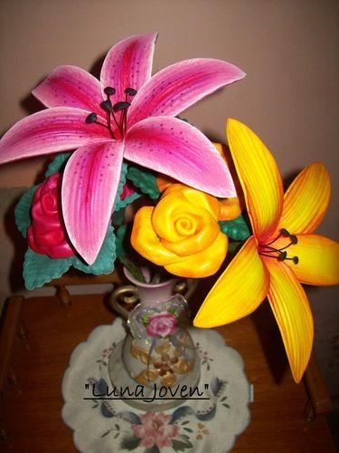 Arreglo Floral En Goma Eva Foamy Variety Flowers Crafts