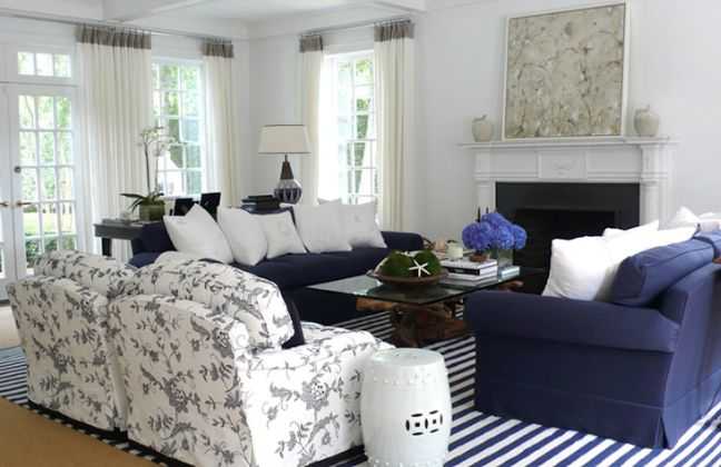 Navy couch + blue rug ... add white pillows to our huge ...
