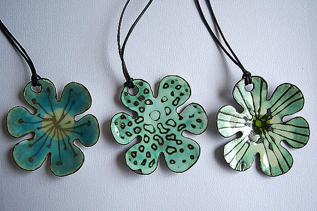 Enamelled copper pendants, by Ashley Heminway.