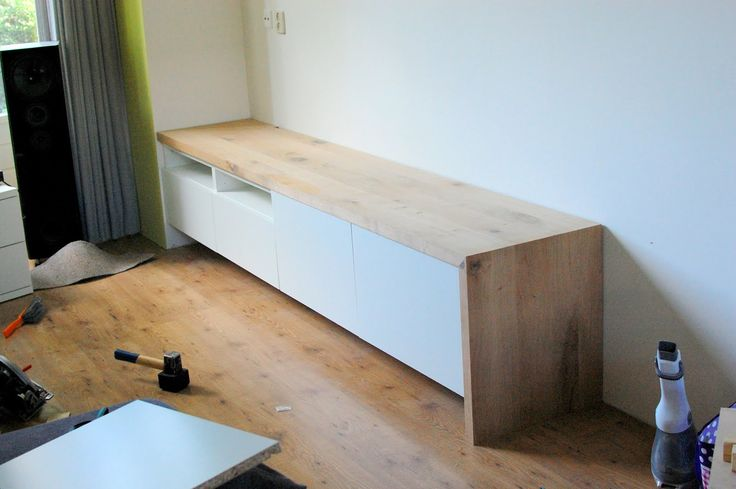 Besta media unit with bench seating (oak) added