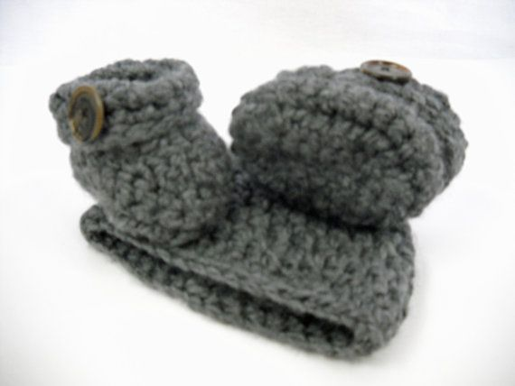 Baby Boy Crochet chunky grey hat and booties set