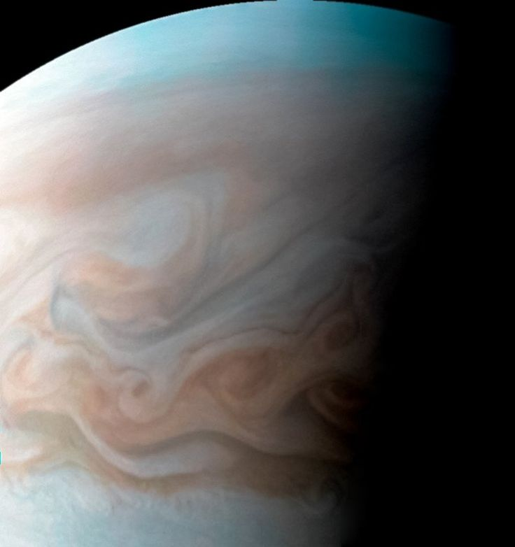 NASA's Juno MissionVerified account @NASAJuno 17m17 minutes ago More #Jupiter cloudscape. This close-up #JunoCam view captures the turbulent region just west of the Great Red Spot http://go.nasa.gov/2mfeQWH