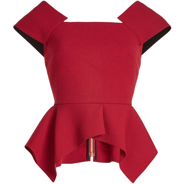Roland Mouret Wool Top found on Polyvore featuring tops, red, red ruffle top, zip peplum top, flutter-sleeve tops, red peplum top and frill top