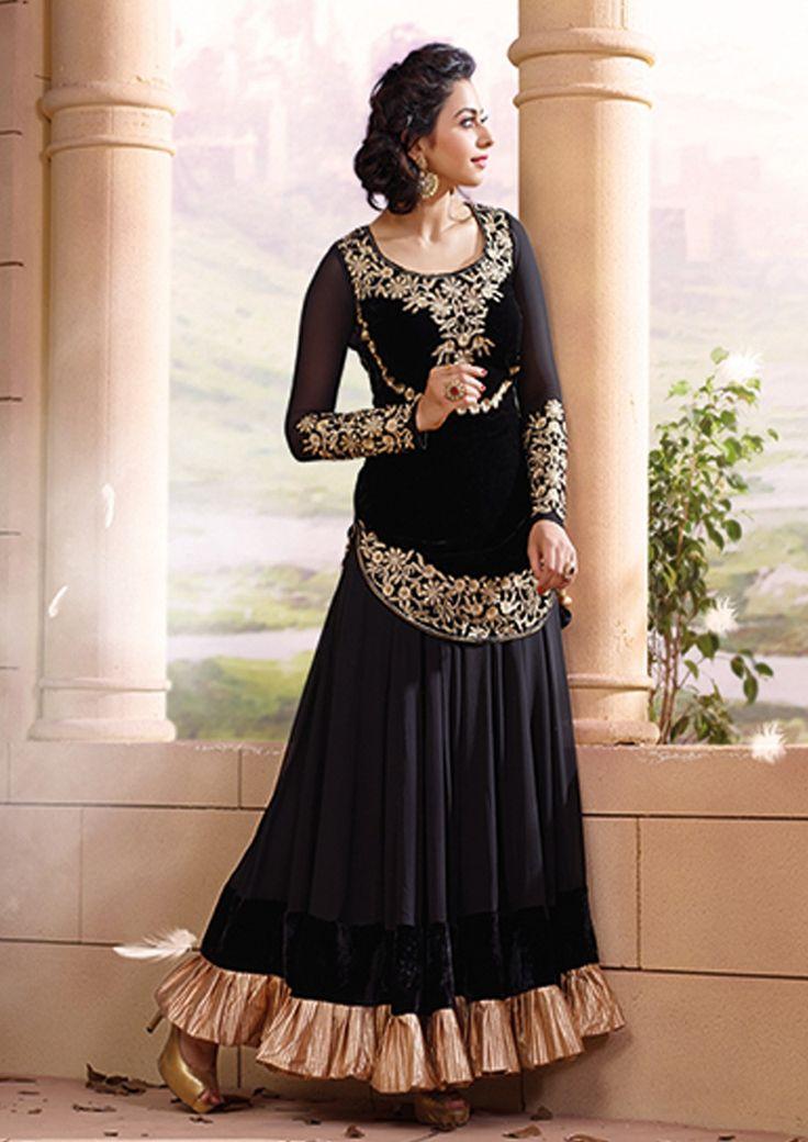 Shop Now Thrilling Black Colored Velvet & Semi Viscose Anarkali Suit  Online From Buysellfast