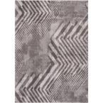 London Amsterdam Grey 7 ft. 10 in. x 10 ft. 6 in. Modern Stripes Chevron Area Rug, Gray