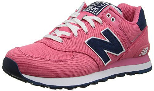 New Balance Women's WL574 Pique Polo Collection Running Shoe, Pink/Navy, 9.5 B US - http://buyonlinemakeup.com/new-balance/new-balance-womens-wl574-pique-polo-collection-9-5