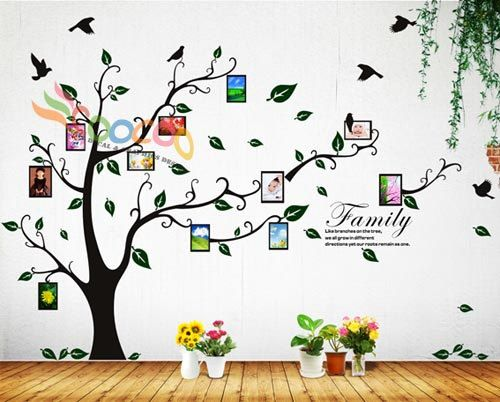 Wall Decal Sticker Removable Photo Frame Tree With Family Branches Quote Part 68