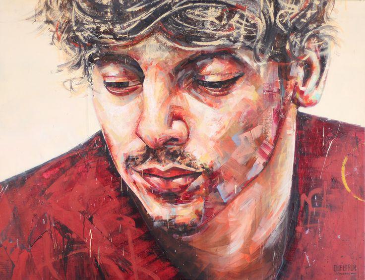 pierre chabiron, peinture, art, contemporain, humain , homme , rouge, acrylic,