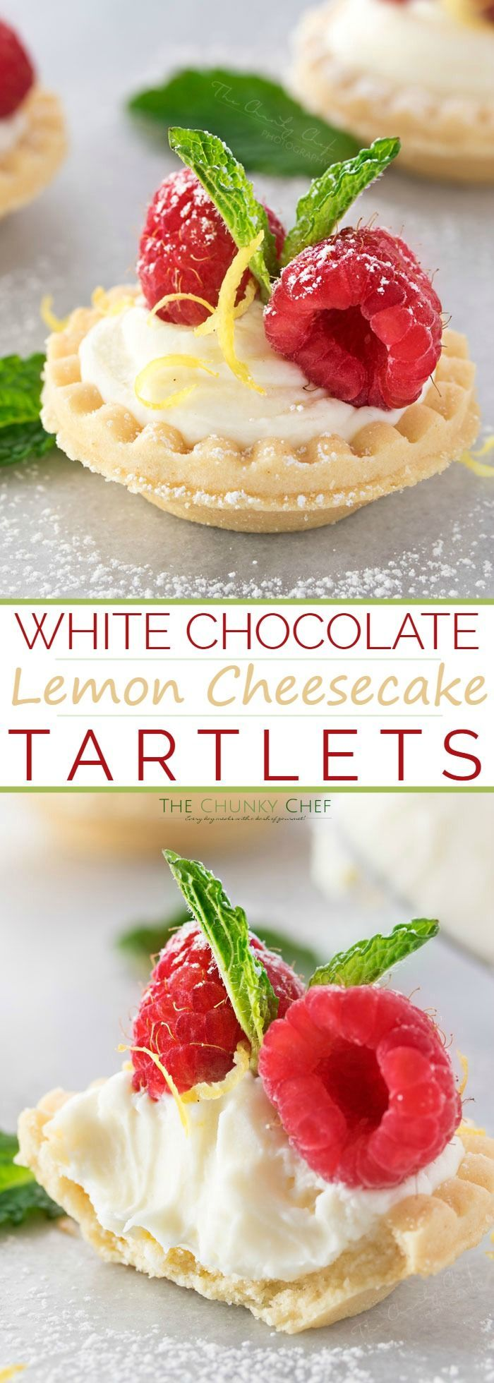 Mini No Bake White Chocolate Lemon Cheesecake Tarts | Creamy no bake white chocolate lemon cheesecake tarts, topped with your favorite fresh fruit, mint, and a dusting of powdered sugar. Impressive and easy! | http://thechunkychef.com